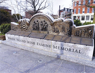 Irish famine memorial monument